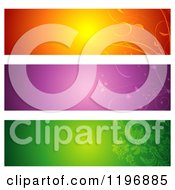 Clipart Of Orange Purple And Green Floral Website Banners Royalty Free Vector Illustration
