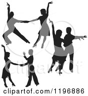 Clipart Of Black Silhouetted Latin Dance Couples 3 Royalty Free Vector Illustration