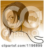 Clipart Of A Woman Wearing Headphones Looking Over Her Shoulder Over Lines And Equalizer Bars Royalty Free Vector Illustration