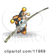 Joker Jester Character Holding A Balance Bar Clipart Illustration by Leo Blanchette