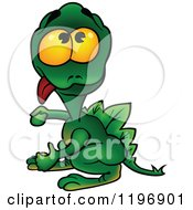 Cartoon Of A Goofy Green Dragon Hanging His Tongue Out Royalty Free Vector Clipart
