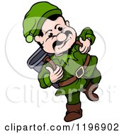 Cartoon Of A Happy Gnome Walking Wtih A Backpack Royalty Free Vector Clipart by dero