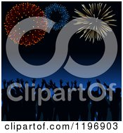 Clipart Of A Silhouetted Crowd Cheering Under Fireworks Royalty Free Vector Illustration by dero