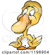Cartoon Of A Yellow Duckling With Wings On His Hips Royalty Free Vector Clipart by dero
