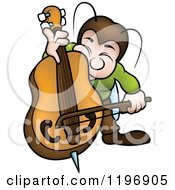 Cartoon Of A Musical Bug Playing A Bass Royalty Free Vector Clipart