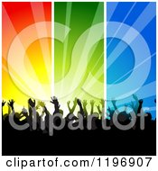 Clipart Of A Silhouetted Crowd Dancing Under Colorful Ray Panels Royalty Free Vector Illustration