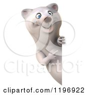 Clipart Of A 3d Polar Bear Mascot Smiling And Pointing To A Sign Royalty Free CGI Illustration