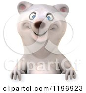 Clipart Of A 3d Polar Bear Mascot Smiling Over A Sign Royalty Free CGI Illustration