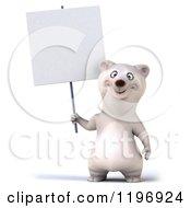 Clipart Of A 3d Polar Bear Mascot Holding A Sign Royalty Free CGI Illustration