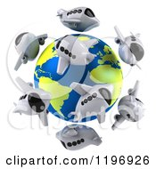 Clipart Of 3d Airplanes Around A Globe With The Atlantic Featured Royalty Free CGI Illustration