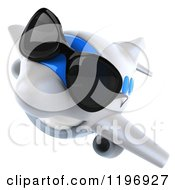 Clipart Of A 3d Happy Airplane Mascot Wearing Sunglasses 2 Royalty Free CGI Illustration