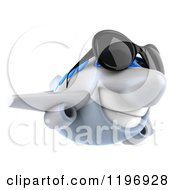 Clipart Of A 3d Happy Airplane Mascot Wearing Sunglasses 3 Royalty Free CGI Illustration