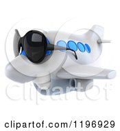 Clipart Of A 3d Happy Airplane Mascot Wearing Sunglasses Royalty Free CGI Illustration
