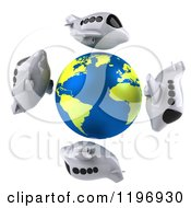 Clipart Of 3d Airplanes Circling A Globe With The Atlantic Featured Royalty Free CGI Illustration