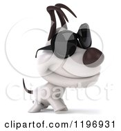 Clipart Of A 3d Walking Jack Russell Terrier Dog Wearing Sunglasses Royalty Free CGI Illustration