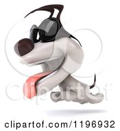 Clipart Of A 3d Running Jack Russell Terrier Dog Wearing Sunglasses Royalty Free CGI Illustration