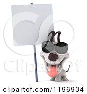 Clipart Of A 3d Jack Russell Terrier Dog Wearing Sunglasses By A Sign Royalty Free CGI Illustration
