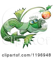 Cartoon Of A Green Abyssal Angler Fish With A Christmas Bauble Royalty Free Vector Clipart by Zooco