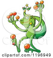 Cartoon Of A Happy Iguana Lizard With Christmas Baubles And Decorations Royalty Free Vector Clipart by Zooco