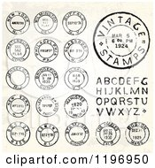 Clipart Of Vintage Postmark Stamps And Letters Royalty Free Vector Illustration by BestVector