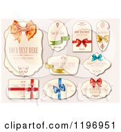 Labels With Ribbons And Bows And Sample Text