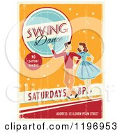 Clipart Of A Retro Distressed Swing Dance Poster With Sample Text Royalty Free Vector Illustration by Eugene