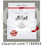 Clipart Of A Envelope And Electronic Wedding Invitation With Sample Text And A Carriage Royalty Free Vector Illustration by Eugene