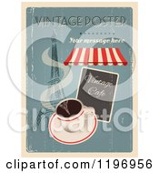 Clipart Of A Retro Distressed Coffee And Paris Poster With Sample Text Royalty Free Vector Illustration by Eugene