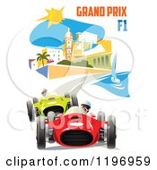 Clipart Of A Grand Prix F1 Poster Royalty Free Vector Illustration by Eugene