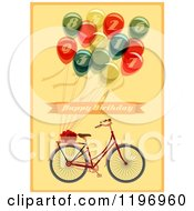 Clipart Of A Retro Bicycle And Balloon Happy Birthday Greeting On Yellow Royalty Free Vector Illustration by Eugene