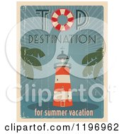 Clipart Of A Retro Distressed Lighthouse Summer Poster With Sample Text Royalty Free Vector Illustration by Eugene