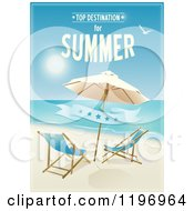 Clipart Of A Beach Poster With Furniture A Banner And Sample Text Royalty Free Vector Illustration by Eugene