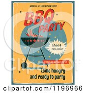 Clipart Of A Retro Distressed Bbq Party Poster With Sample Text Royalty Free Vector Illustration