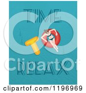 Clipart Of A Woman Floating On An Inner Tube With Time To Relax Text Royalty Free Vector Illustration by Eugene