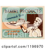 Clipart Of A Retro Distressed Bakery Poster With Sample Text Royalty Free Vector Illustration by Eugene