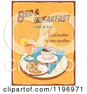 Clipart Of A Retro Distressed Bed And Breakfast Poster Royalty Free Vector Illustration by Eugene