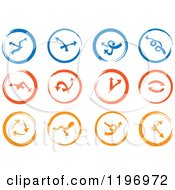 Clipart Of Blue Red And Orange Abstract Clock And Arrow Icons Royalty Free Vector Illustration by Eugene