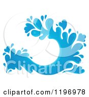 Cartoon Of A Blue Water Splash 4 Royalty Free Vector Clipart