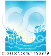 Cartoon Of A Blue Ocean Splash And Surf Background 3 Royalty Free Vector Clipart by visekart