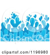 Cartoon Of A Blue Ocean Splash And Surf Background 4 Royalty Free Vector Clipart