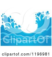 Cartoon Of A Blue Ocean Splash And Surf Background 2 Royalty Free Vector Clipart