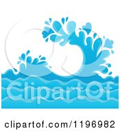 Cartoon Of A Blue Ocean Splash And Surf Background Royalty Free Vector Clipart