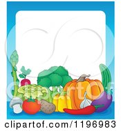 Cartoon Of A Group Of Vegetables With A Blue Border And White Text Space Royalty Free Vector Clipart