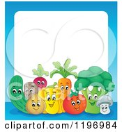 Cartoon Of A Group Of Happy Vegetables With A Blue Border And White Text Space Royalty Free Vector Clipart by visekart