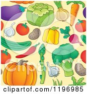 Cartoon Of A Seamless Pattern Of Colorful Vegetables On Tan Royalty Free Vector Clipart