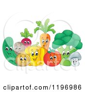 Cartoon Of A Group Of Happy Veggies Royalty Free Vector Clipart by visekart
