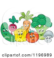 Cartoon Of A Group Of Happy Vegetables Royalty Free Vector Clipart by visekart