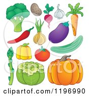 Cartoon Of Healthy Vegetables Royalty Free Vector Clipart by visekart