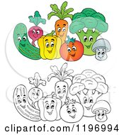 Cartoon Of Groups Of Colored And Outlined Happy Vegetables Royalty Free Vector Clipart by visekart