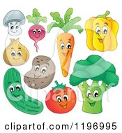 Cartoon Of Happy Veggies Royalty Free Vector Clipart by visekart